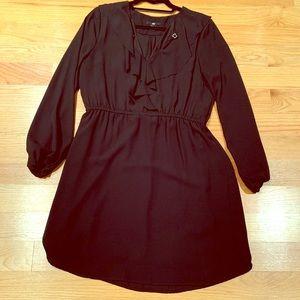 H&M black ruffle long sleeve dress